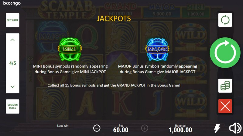 Scarab Temple Hold and Win :: Jackpot Rules