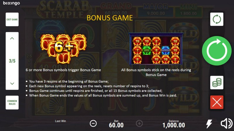 Scarab Temple Hold and Win :: Bonus Feature