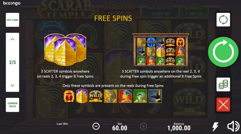 Scarab Temple Hold and Win :: Free Spin Feature Rules