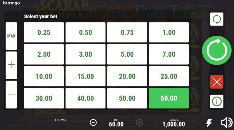 Scarab Temple Hold and Win :: Select your bet