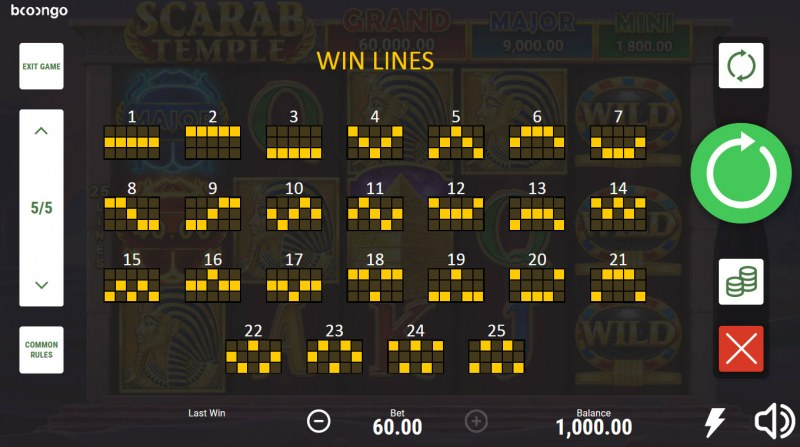 Scarab Temple Hold and Win :: Paylines 1-25