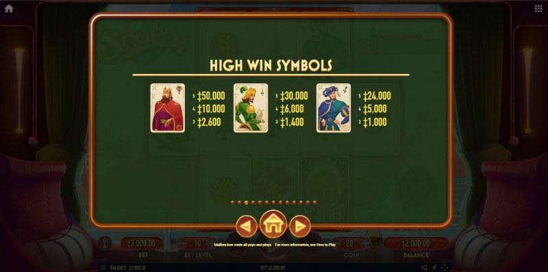 Scopa :: Paytable - High Value Symbols