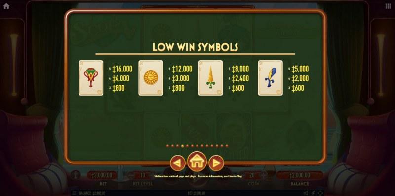Scopa :: Paytable - Low Value Symbols