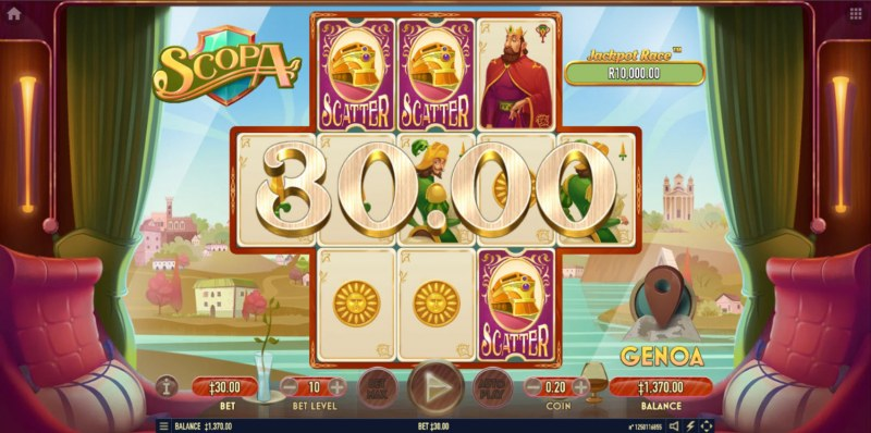 Scopa :: Scatter symbols triggers the free spins bonus feature