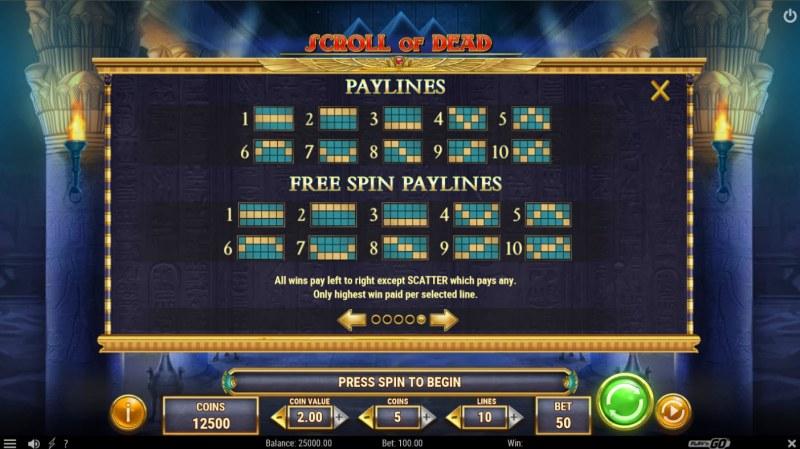 Scroll of Dead :: Paylines 1-10