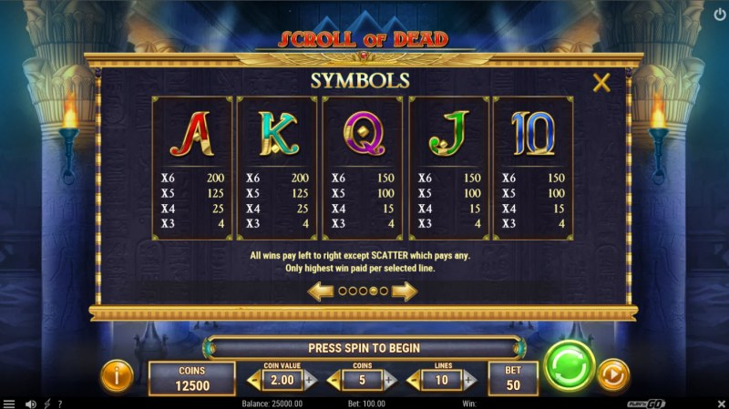 Scroll of Dead :: Paytable - Low Value Symbols