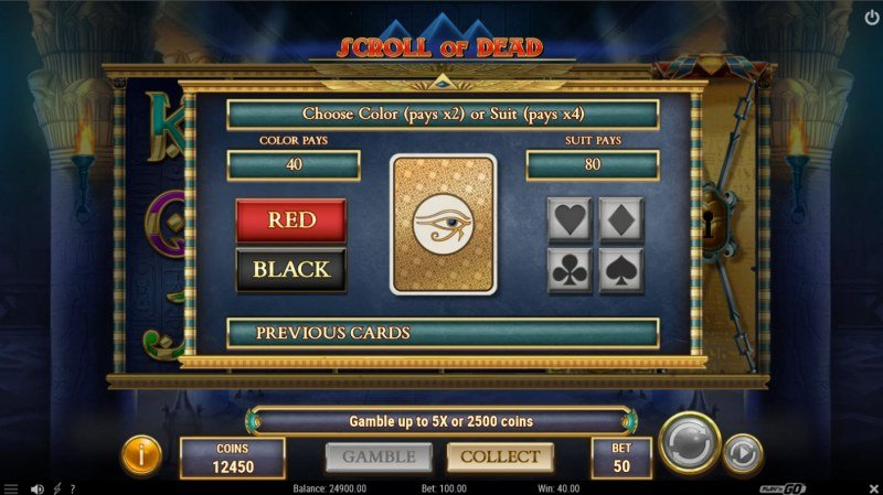 Scroll of Dead :: Gamble feature is available after every win
