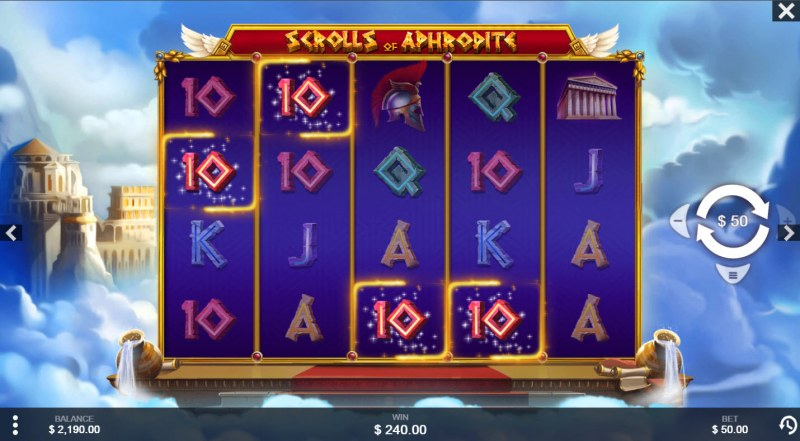 Scrolls of Aphrodite :: A four of a kind win