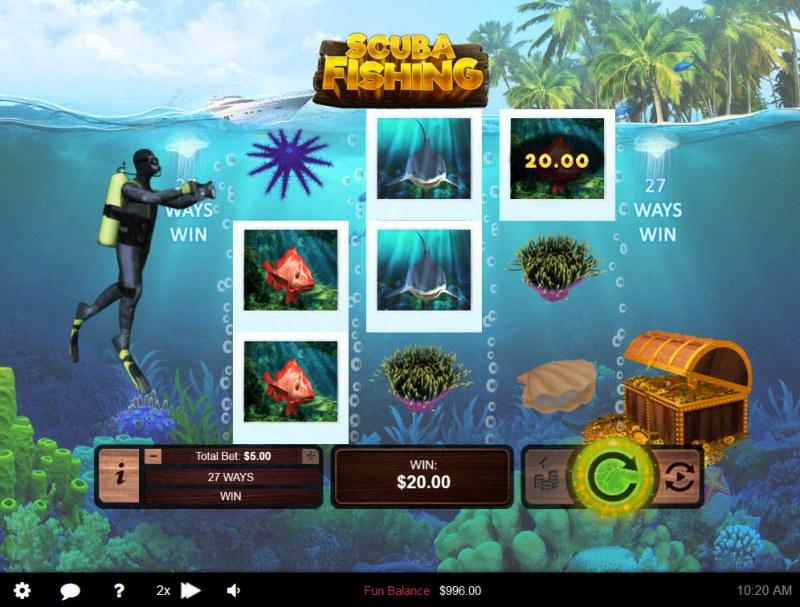 Scuba Fishing :: A three of a kind win