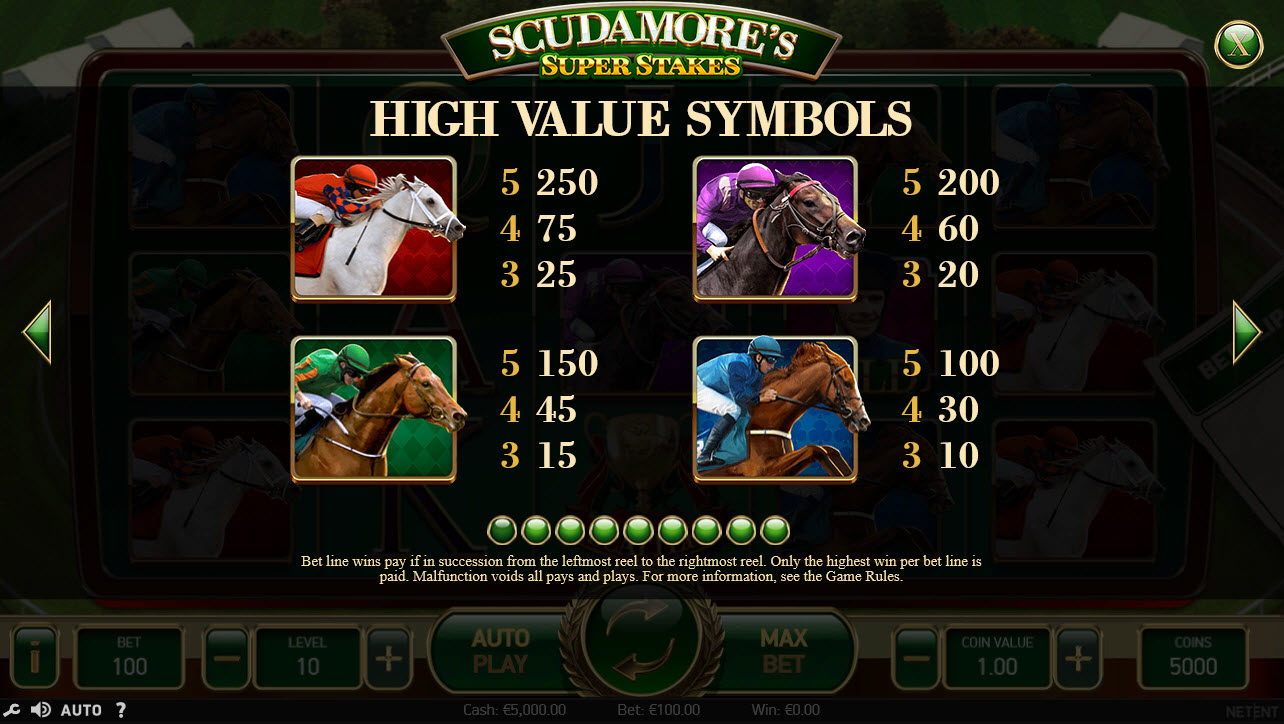 Play slots at 4 Stars: 4 Stars featuring the Video Slots Scudamore's Super Stakes with a maximum payout of $50,000