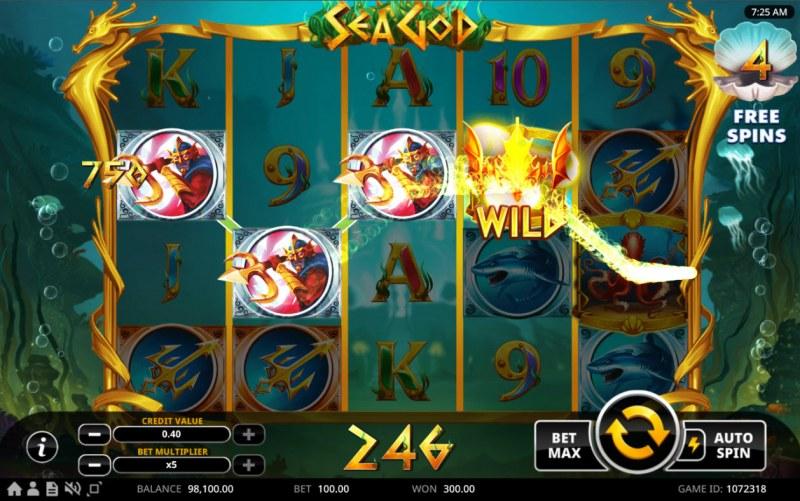 Sea God :: A four of a kind win