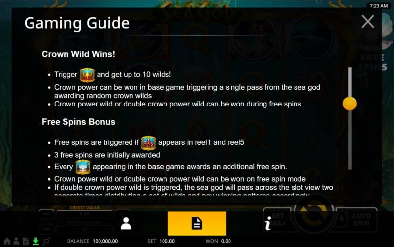 Sea God :: Feature Rules