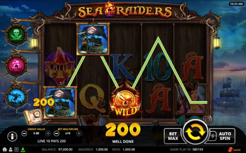 Sea Raiders :: Three of a kind win