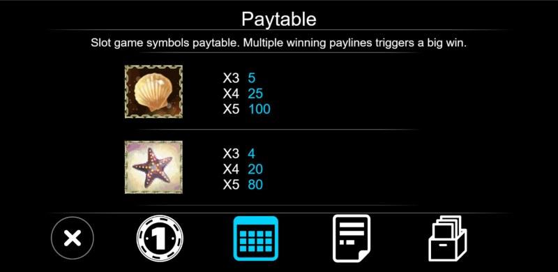 Sea World :: Paytable - Low Value Symbols