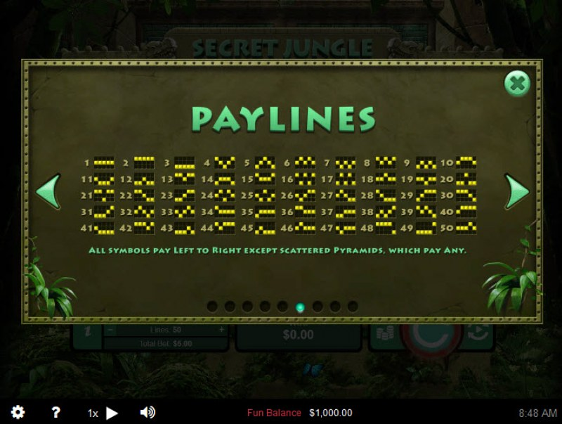 Secret Jungle :: Paylines 1-50