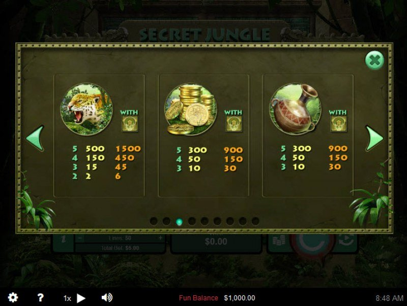 Secret Jungle :: Paytable - Medium Value Symbols