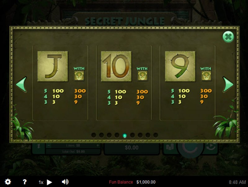Secret Jungle :: Paytable - Low Value Symbols
