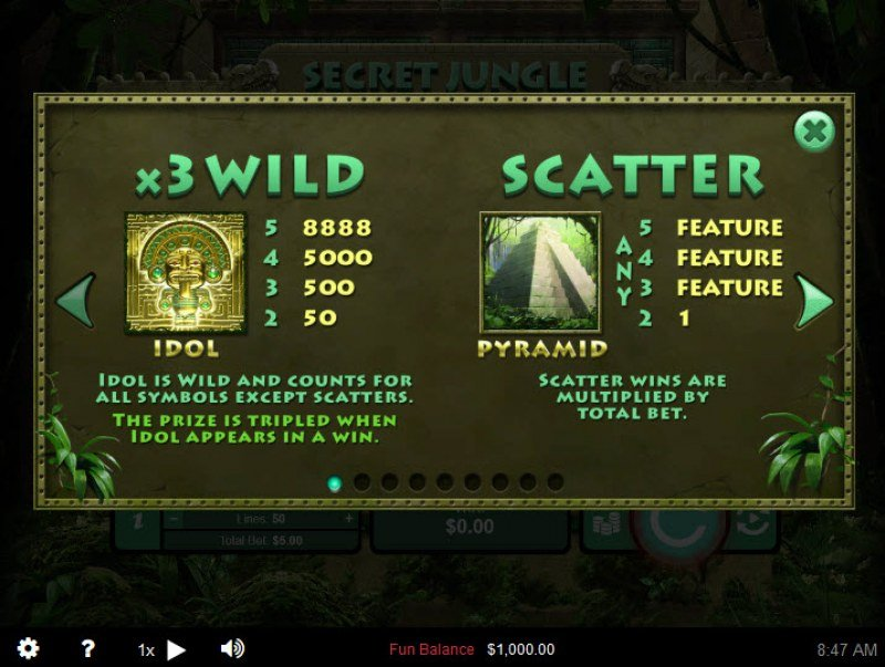 Secret Jungle :: Wild and Scatter Rules