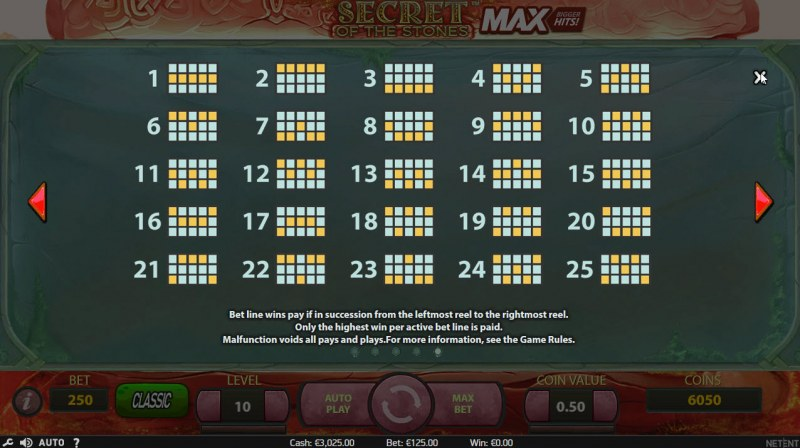 Secret of the Stones MAX :: Paylines 1-25
