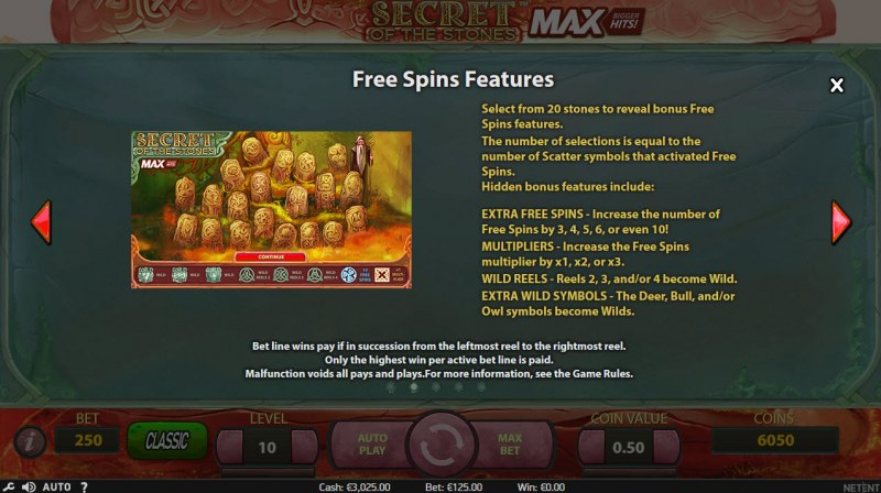 Play slots at 4 Stars: 4 Stars featuring the Video Slots Secret of the Stones MAX with a maximum payout of $1,125,000