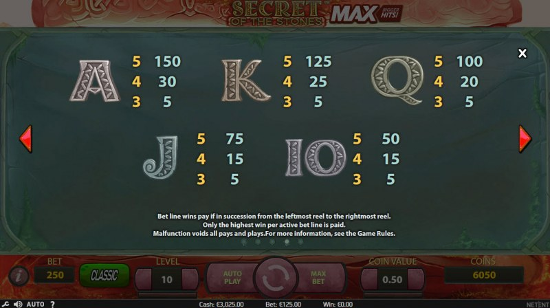 Secret of the Stones MAX :: Paytable - Low Value Symbols