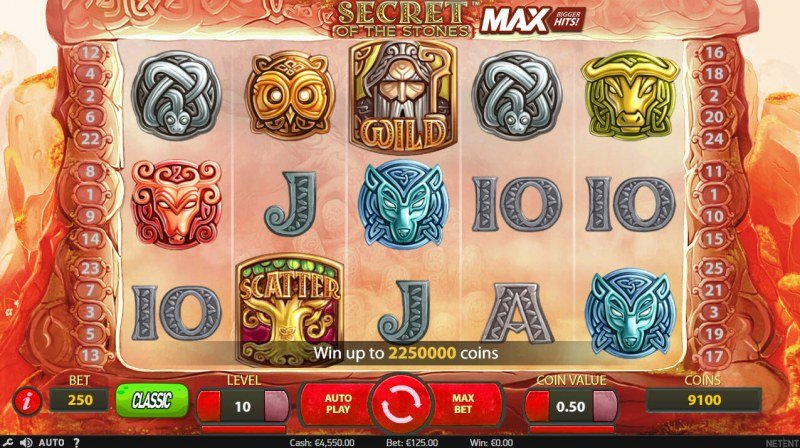 Play slots at Free Spins: Free Spins featuring the Video Slots Secret of the Stones MAX with a maximum payout of $1,125,000