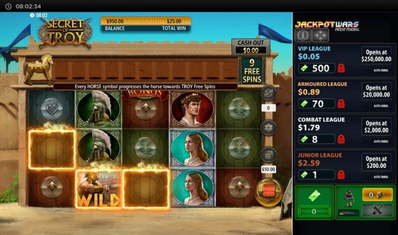 Secret of Troy Jackpot Wars :: A three of a kind win