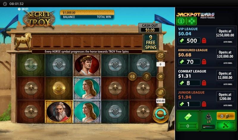 Secret of Troy Jackpot Wars :: Base Game Screen