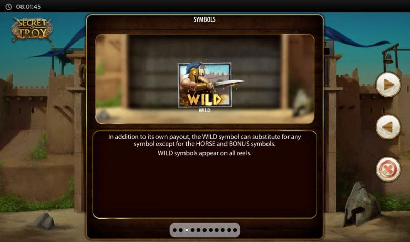 Secret of Troy Jackpot Wars :: Wild Symbol Rules