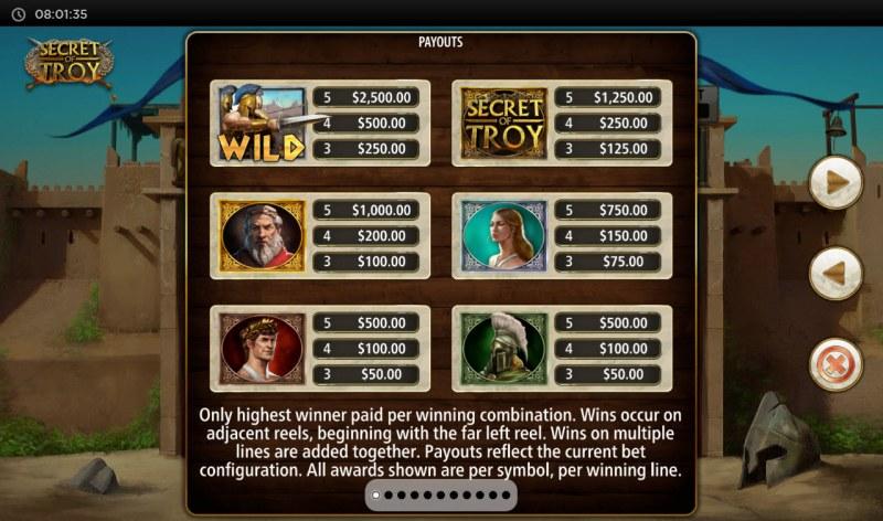 Secret of Troy Jackpot Wars :: Paytable - High Value Symbols