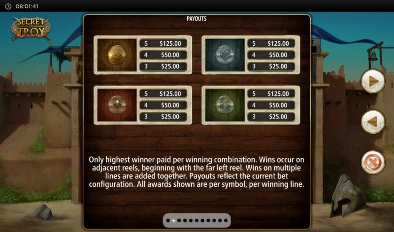 Secret of Troy Jackpot Wars :: Paytable - Low Value Symbols