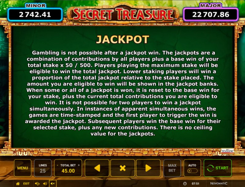 Secret Treasure :: Jackpot Rules