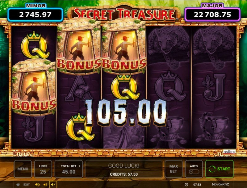 Secret Treasure :: Scatter symbols triggers the free spins bonus feature