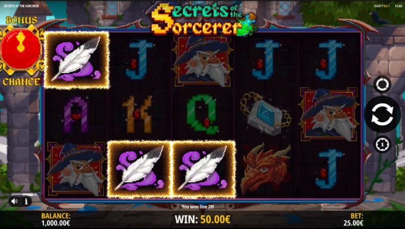 Secrets of the Sorcerer :: A three of a kind win