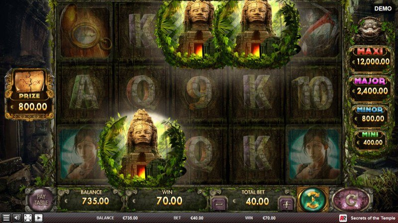 Secrets of the Temple :: Scatter symbols triggers the free spins bonus feature