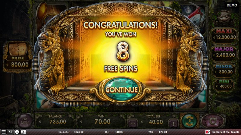 Secrets of the Temple :: 8 free spins awarded