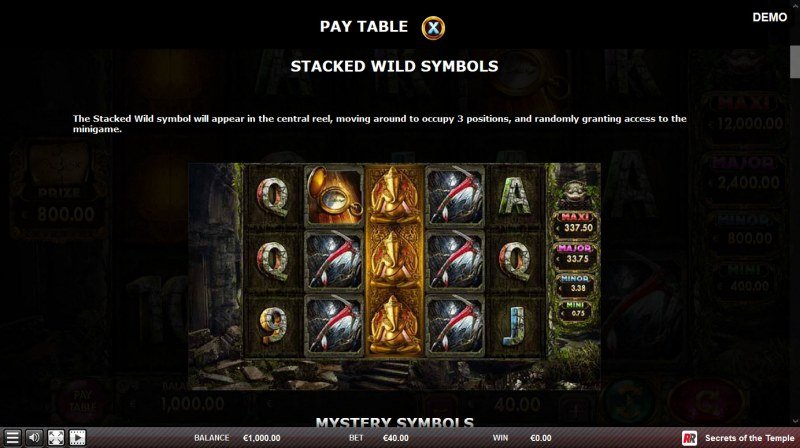 Secrets of the Temple :: Stacked Wild Symbols