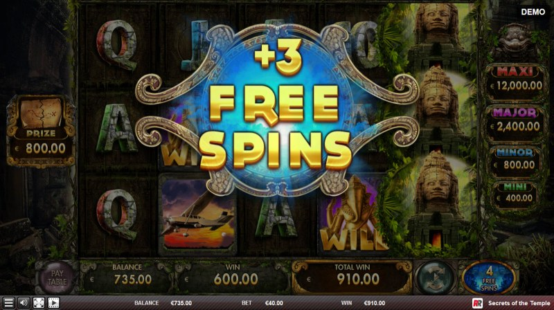 Secrets of the Temple :: 3 additional free spins awarded