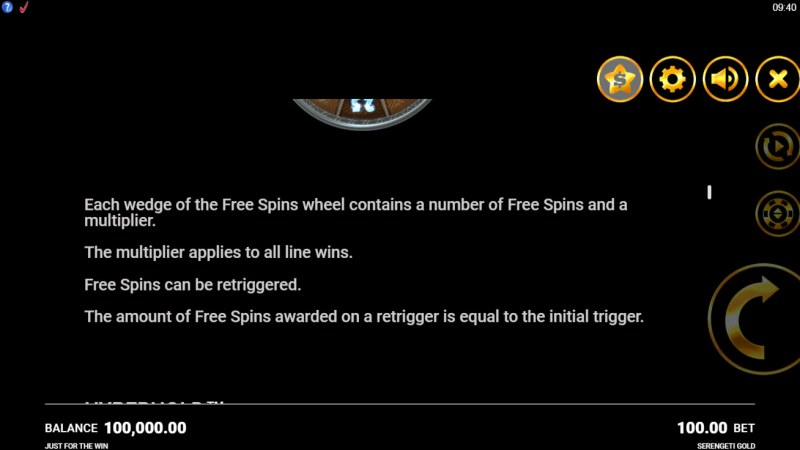 Serengeti Gold :: Free Spin Feature Rules