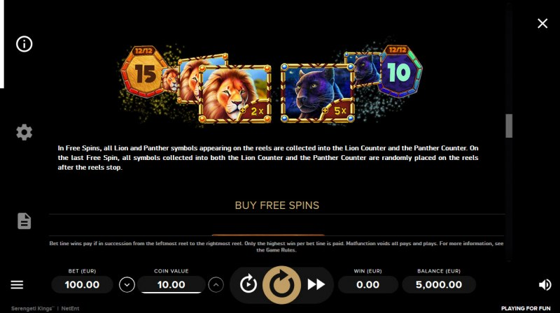 Serengeti Kings :: Free Spins Rules