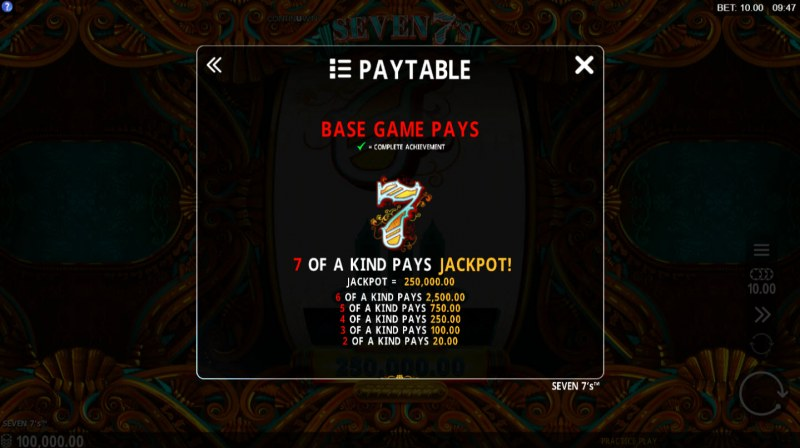 Seven 7's :: Paytable - High Value Symbols