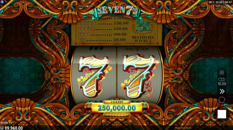 Seven 7's :: Landing a seven symbol will expand the reels