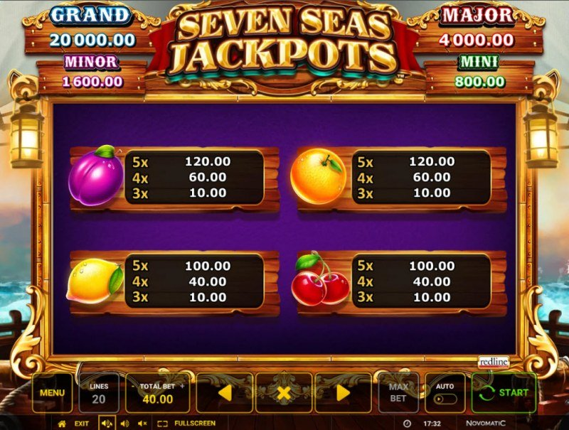 Seven Seas Jackpots :: Paytable - Low Value Symbols
