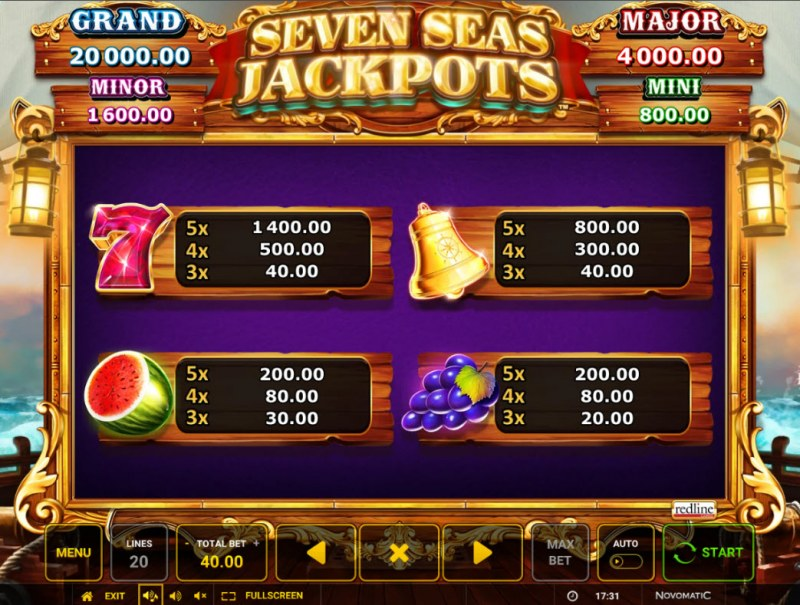 Seven Seas Jackpots :: Paytable - High Value Symbols