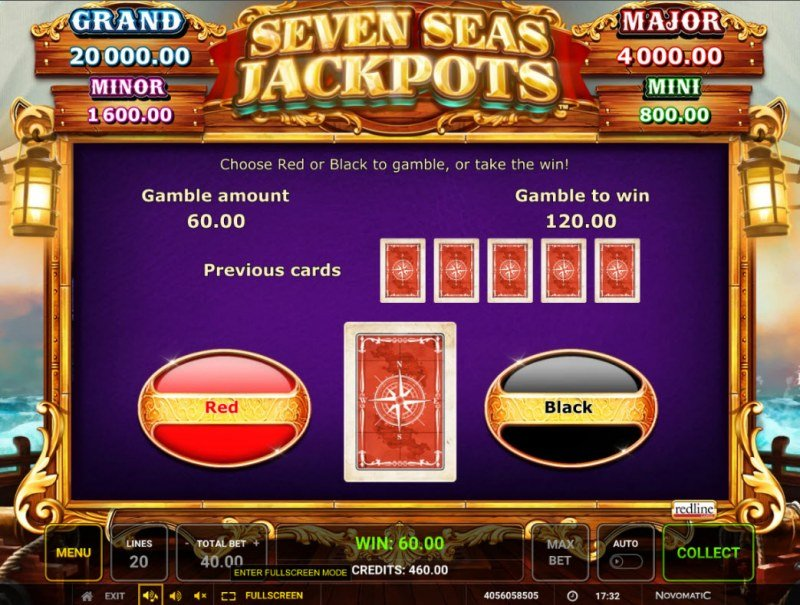 Seven Seas Jackpots :: Red or Black Gamble Feature