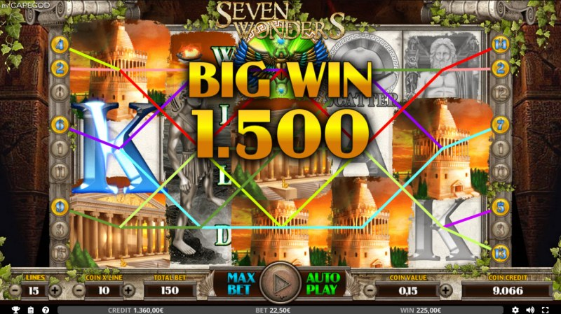 Seven Wonders of the Ancient World :: Multiple winning combinations leads to a big win