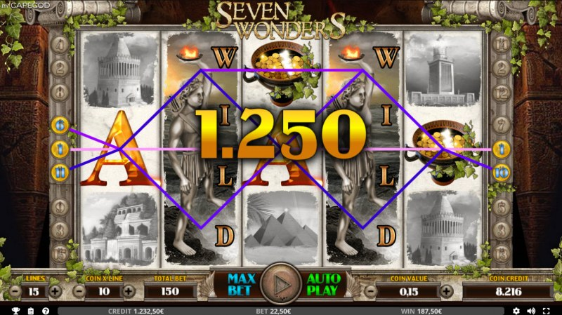 Seven Wonders of the Ancient World :: Multiple winning paylines