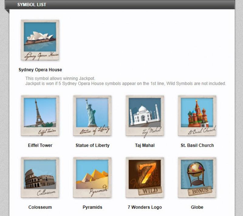 Seven Wonders :: Symbol List