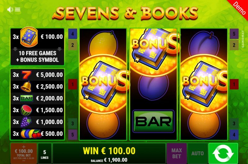 Sevens & Books :: Scatter symbols triggers the free spins bonus feature