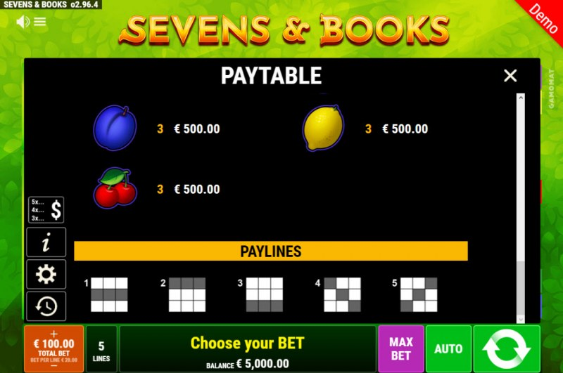 Sevens & Books :: Paylines 1-5